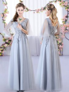 Popular Grey Tulle Lace Up V-neck Sleeveless Floor Length Quinceanera Court Dresses Appliques