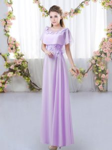Chiffon Scoop Short Sleeves Zipper Appliques Quinceanera Court of Honor Dress in Lavender