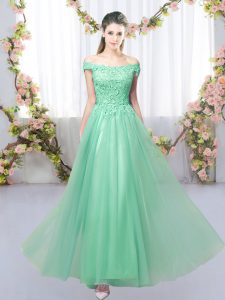 Apple Green Court Dresses for Sweet 16 Prom and Party and Wedding Party with Lace Off The Shoulder Sleeveless Lace Up