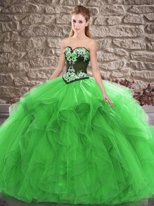 Green Sleeveless Tulle Lace Up Sweet 16 Dress for Sweet 16 and Quinceanera