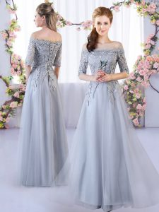 Grey Empire Appliques Damas Dress Lace Up Tulle Half Sleeves Floor Length
