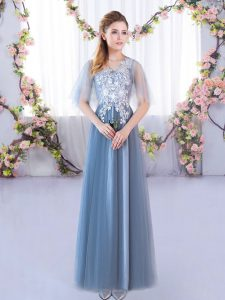 Blue Vestidos de Damas Prom and Party and Wedding Party with Lace V-neck Half Sleeves Lace Up