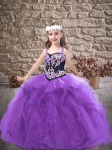 Floor Length Purple Pageant Gowns For Girls Tulle Sleeveless Embroidery and Ruffles