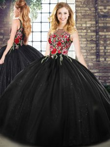 Embroidery Vestidos de Quinceanera Black Zipper Sleeveless Floor Length