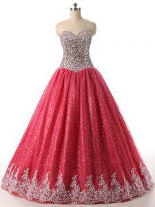 Custom Designed Coral Red Ball Gowns Sequined Sweetheart Sleeveless Beading and Appliques Floor Length Lace Up 15 Quinceanera Dress