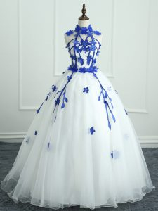 White Quinceanera Dress Military Ball and Sweet 16 and Quinceanera with Appliques High-neck Sleeveless Zipper