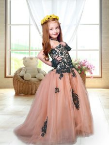 Sleeveless Appliques Lace Up Little Girls Pageant Dress Wholesale with Peach Brush Train