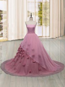 Traditional Pink Sleeveless Brush Train Hand Made Flower 15 Quinceanera Dress