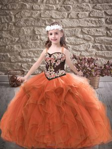 Sweet Straps Sleeveless Kids Formal Wear Floor Length Embroidery and Ruffles Rust Red Tulle