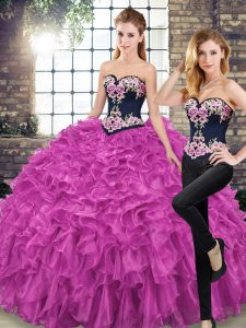 Super Fuchsia Sweetheart Neckline Embroidery and Ruffles Ball Gown Prom Dress Sleeveless Lace Up