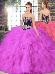 Sleeveless Tulle Floor Length Lace Up 15th Birthday Dress in Fuchsia with Beading and Embroidery