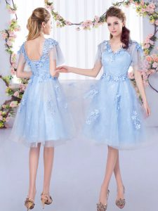 Wonderful Light Blue Short Sleeves Tulle Lace Up Court Dresses for Sweet 16 for Prom and Party and Wedding Party