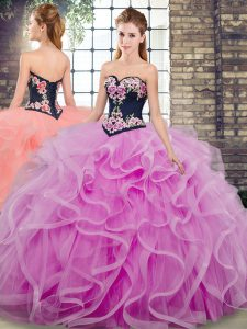 Fashionable Lilac Sweet 16 Quinceanera Dress Military Ball and Sweet 16 and Quinceanera with Embroidery and Ruffles Sweetheart Sleeveless Sweep Train Lace Up