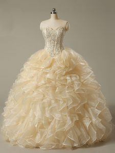Champagne Lace Up Vestidos de Quinceanera Beading and Ruffles Sleeveless Floor Length