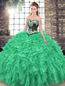 Artistic Green Ball Gowns Embroidery and Ruffles Quinceanera Gown Lace Up Organza Sleeveless