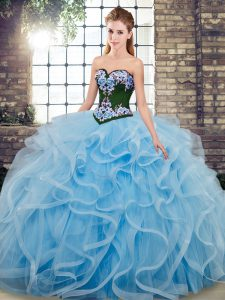 Baby Blue Ball Gowns Embroidery Ball Gown Prom Dress Lace Up Tulle Sleeveless