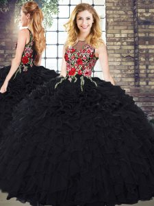Suitable Black Ball Gowns Embroidery and Ruffles Ball Gown Prom Dress Zipper Organza Sleeveless Floor Length