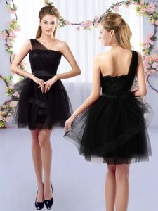 Nice Black A-line Tulle One Shoulder Sleeveless Lace Mini Length Side Zipper Dama Dress