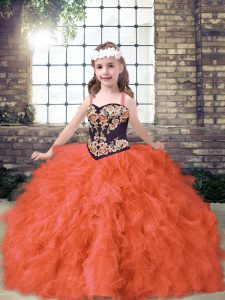 Embroidery and Ruffles Little Girls Pageant Dress Orange Red Lace Up Sleeveless Floor Length