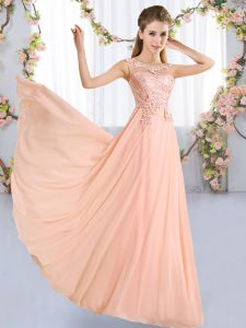 Delicate Chiffon Scoop Sleeveless Lace Up Lace Quinceanera Dama Dress in Peach