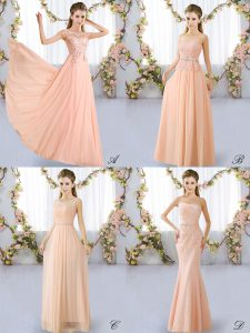 Scoop Sleeveless Quinceanera Court Dresses Floor Length Lace Peach Chiffon