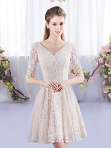 Chic Champagne Empire V-neck Half Sleeves Lace Mini Length Lace Up Quinceanera Court Dresses