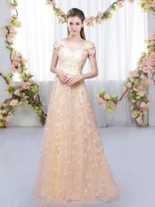 Enchanting Floor Length Peach Damas Dress Off The Shoulder Cap Sleeves Lace Up