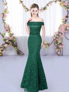 Popular Dark Green Quinceanera Court Dresses Prom and Party and Wedding Party with Lace Off The Shoulder Sleeveless Lace Up