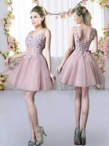 Dramatic Pink A-line Tulle V-neck Sleeveless Appliques Mini Length Lace Up Vestidos de Damas