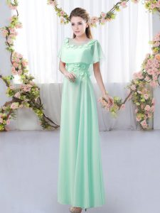 Flirting Apple Green Zipper Scoop Appliques Quinceanera Dama Dress Chiffon Short Sleeves