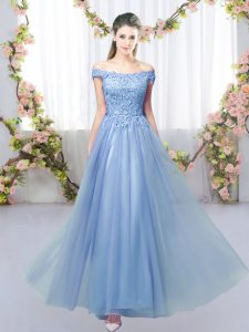 Blue Tulle Lace Up Off The Shoulder Sleeveless Floor Length Quinceanera Dama Dress Lace