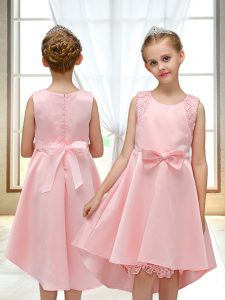 Pretty Pink Scoop Zipper Lace and Bowknot Flower Girl Dress Sleeveless
