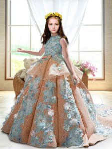 Enchanting Peach Ball Gowns Appliques Kids Formal Wear Backless Satin Sleeveless