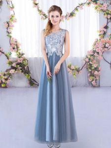 High End Sleeveless Tulle Floor Length Lace Up Quinceanera Court Dresses in Blue with Lace