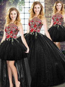 High End Black Zipper Sweet 16 Dress Embroidery Sleeveless Floor Length