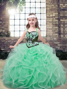 Inexpensive Straps Sleeveless Little Girls Pageant Dress Wholesale Floor Length Embroidery and Ruffles Apple Green Tulle