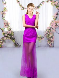 Eye-catching Floor Length Purple Quinceanera Court Dresses V-neck Sleeveless Lace Up