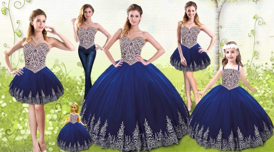 Royal Blue Sleeveless Tulle Lace Up Ball Gown Prom Dress for Military Ball and Sweet 16 and Quinceanera
