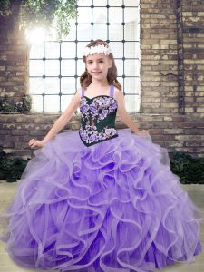 Lavender Ball Gowns Embroidery and Ruffles Kids Pageant Dress Lace Up Tulle Sleeveless Floor Length