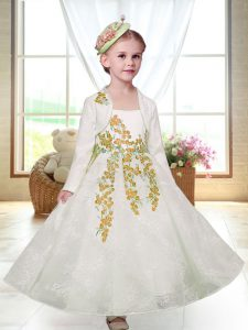 High End White Zipper Straps Embroidery Flower Girl Dress Lace Sleeveless