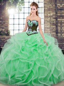 Apple Green Sleeveless Sweep Train Embroidery and Ruffles Quinceanera Gowns
