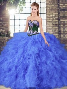 Elegant Floor Length Ball Gowns Sleeveless Blue Quinceanera Dress Lace Up