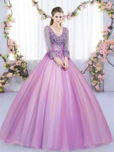 Most Popular Long Sleeves Lace Up Floor Length Lace and Appliques 15 Quinceanera Dress