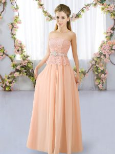 Peach Lace Up Strapless Lace and Belt Quinceanera Court of Honor Dress Chiffon Sleeveless