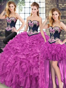 Suitable Sleeveless Sweep Train Embroidery and Ruffles Lace Up Quinceanera Gowns