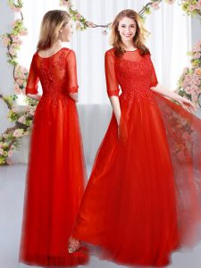 Free and Easy Red Scoop Neckline Lace Quinceanera Court Dresses Half Sleeves Zipper