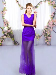 Noble Purple Column/Sheath Lace Damas Dress Lace Up Tulle Sleeveless Floor Length