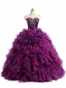 Modern Sleeveless Floor Length Beading and Ruffles Lace Up 15th Birthday Dress with Purple