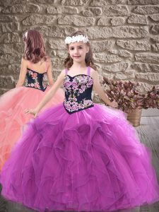 Classical Tulle Sleeveless Floor Length Little Girls Pageant Dress Wholesale and Embroidery and Ruffles