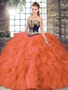 Inexpensive Orange Red Organza Lace Up Quinceanera Gown Sleeveless Floor Length Beading and Embroidery